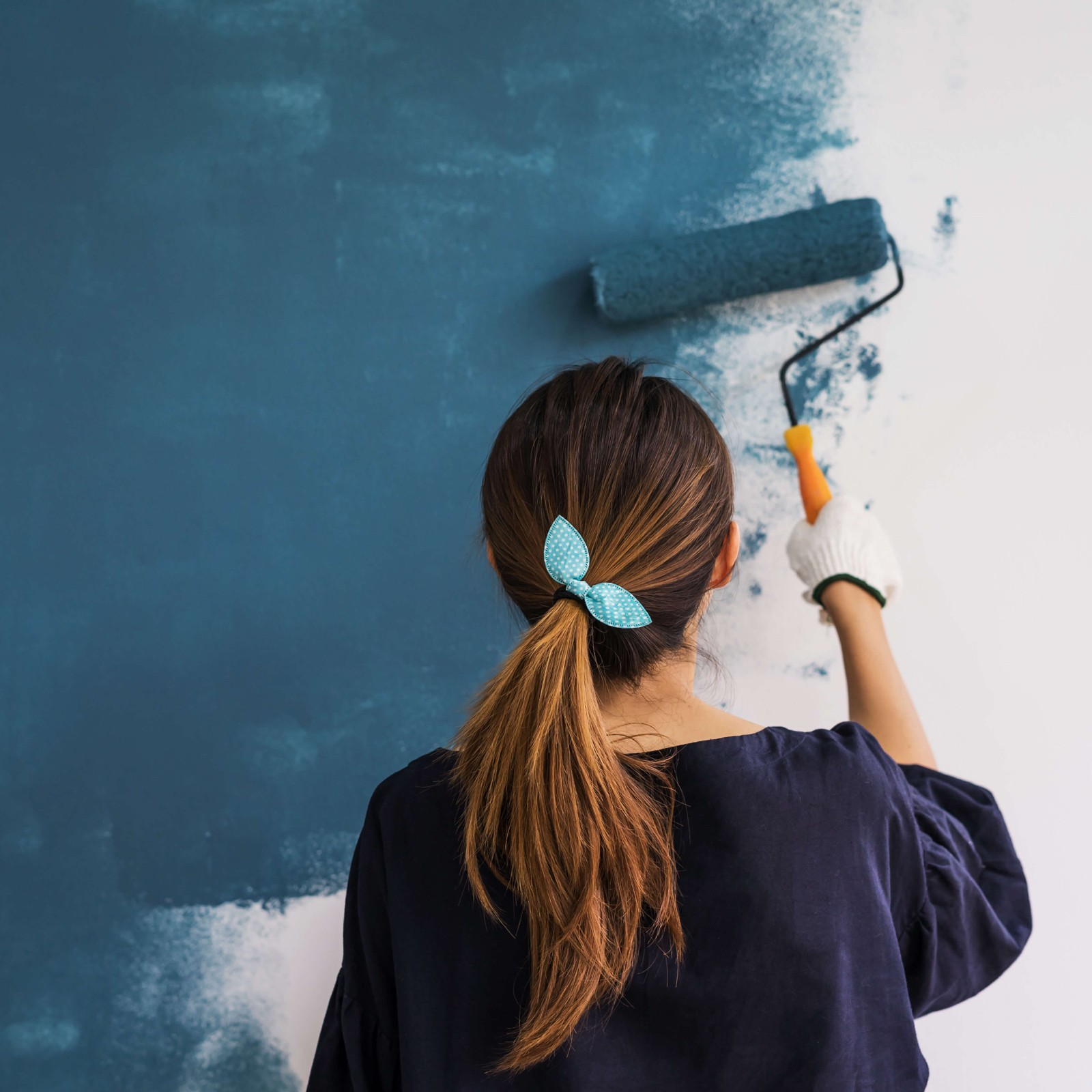 Painting blue wall | Home Lumber & Supply